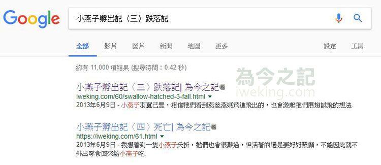 ▲圖1:在Google搜尋自己的部落格文章
